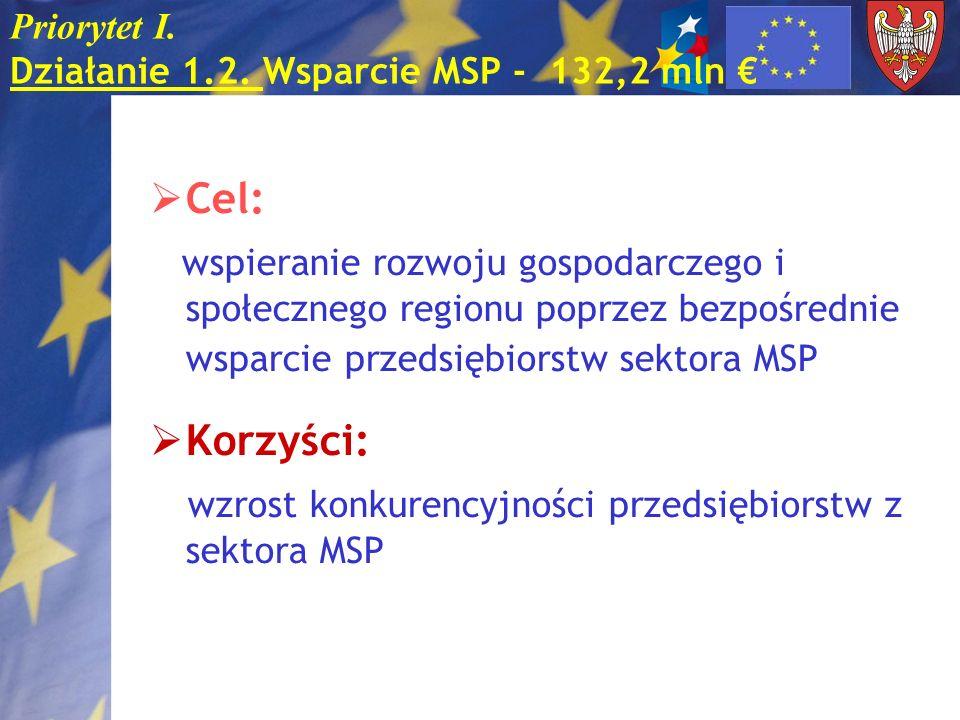 Priorytet I. Działanie 1.2. Wsparcie MSP - 132,2 mln Cel: wspieranie rozwoju gospodarczego i społecznego regionu poprzez bezpośrednie wsparcie przedsi