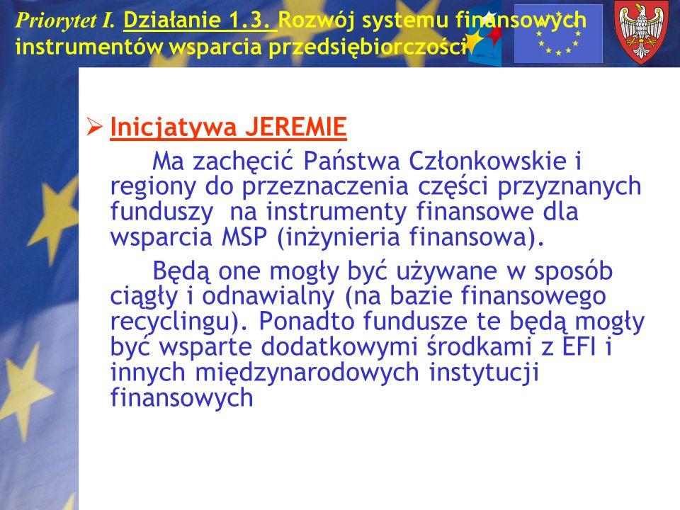 Priorytet I. Działanie 1.3. Rozwój systemu finansowych instrumentów wsparcia przedsiębiorczości Inicjatywa JEREMIE Ma zachęcić Państwa Członkowskie i