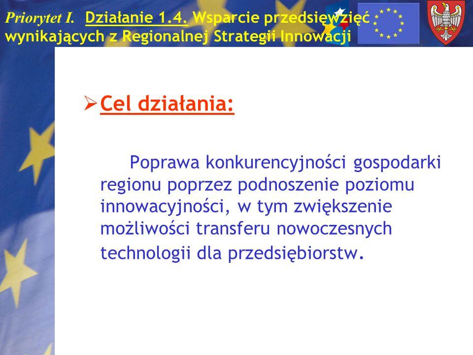 Priorytet I. Działanie 1.4. Wsparcie przedsięwzięć wynikających z Regionalnej Strategii Innowacji Cel działania: Poprawa konkurencyjności gospodarki r