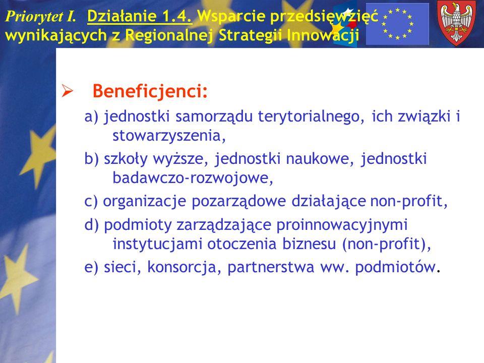 Priorytet I. Działanie 1.4. Wsparcie przedsięwzięć wynikających z Regionalnej Strategii Innowacji Beneficjenci: a) jednostki samorządu terytorialnego,