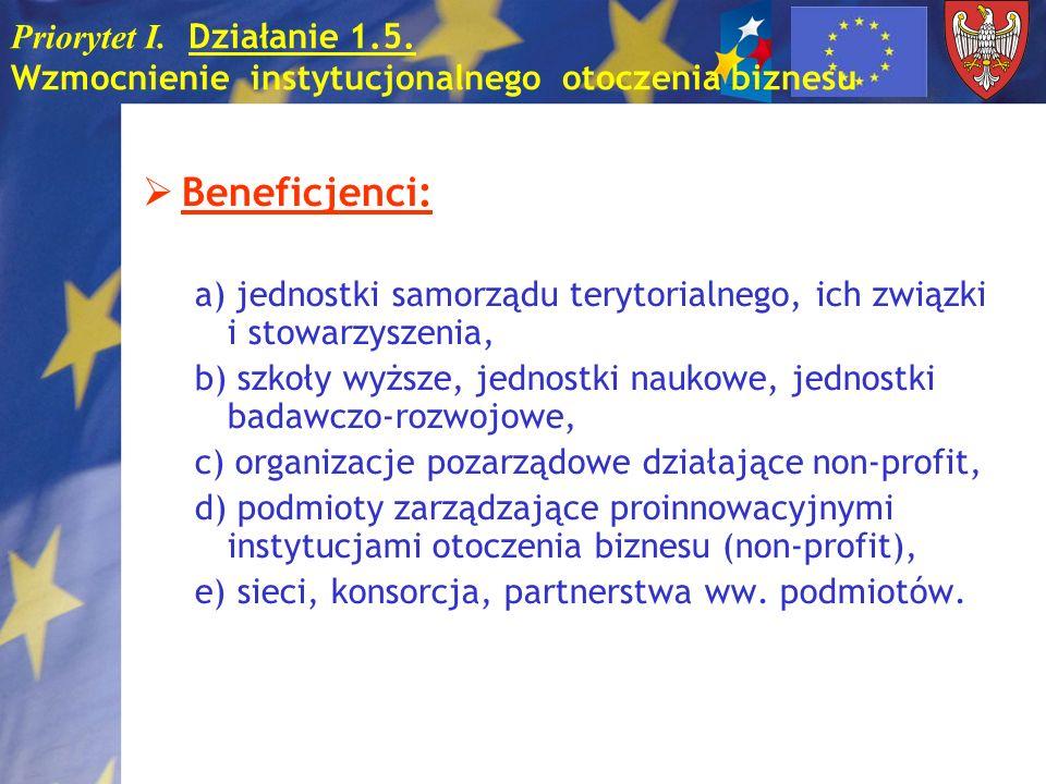 Priorytet I. Działanie 1.5. Wzmocnienie instytucjonalnego otoczenia biznesu Beneficjenci: a) jednostki samorządu terytorialnego, ich związki i stowarz