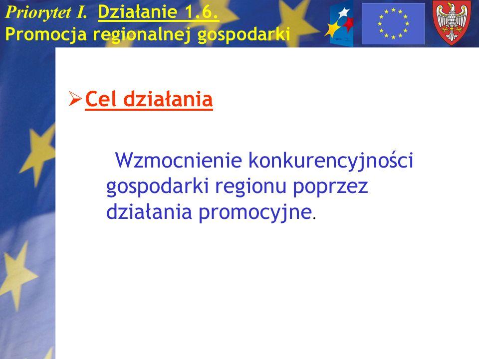 Priorytet I. Działanie 1.6. Promocja regionalnej gospodarki Cel działania Wzmocnienie konkurencyjności gospodarki regionu poprzez działania promocyjne