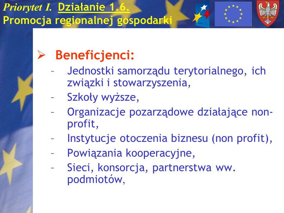 Priorytet I. Działanie 1.6. Promocja regionalnej gospodarki Beneficjenci: –Jednostki samorządu terytorialnego, ich związki i stowarzyszenia, –Szkoły w