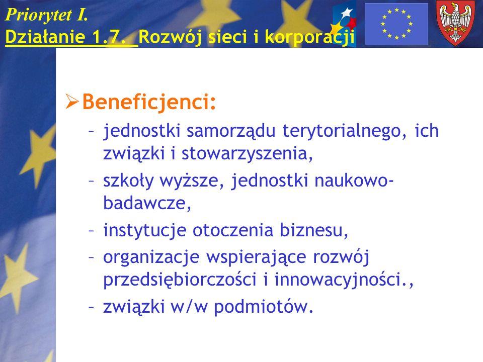 Priorytet I. Działanie 1.7. Rozwój sieci i korporacji Beneficjenci: –jednostki samorządu terytorialnego, ich związki i stowarzyszenia, –szkoły wyższe,