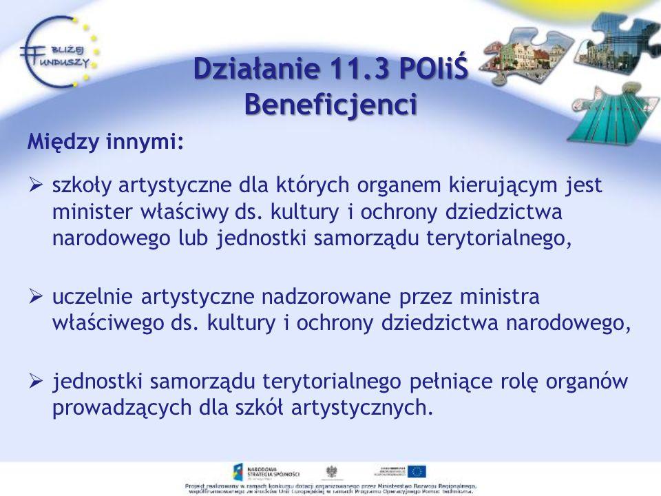 Działanie 11.3 POIiŚ Beneficjenci Między innymi: szkoły artystyczne dla których organem kierującym jest minister właściwy ds. kultury i ochrony dziedz