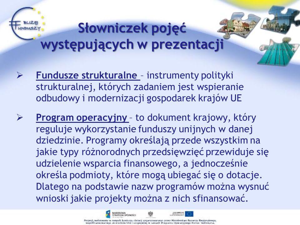 Słowniczek pojęć występujących w prezentacji Fundusze strukturalne – instrumenty polityki strukturalnej, których zadaniem jest wspieranie odbudowy i m