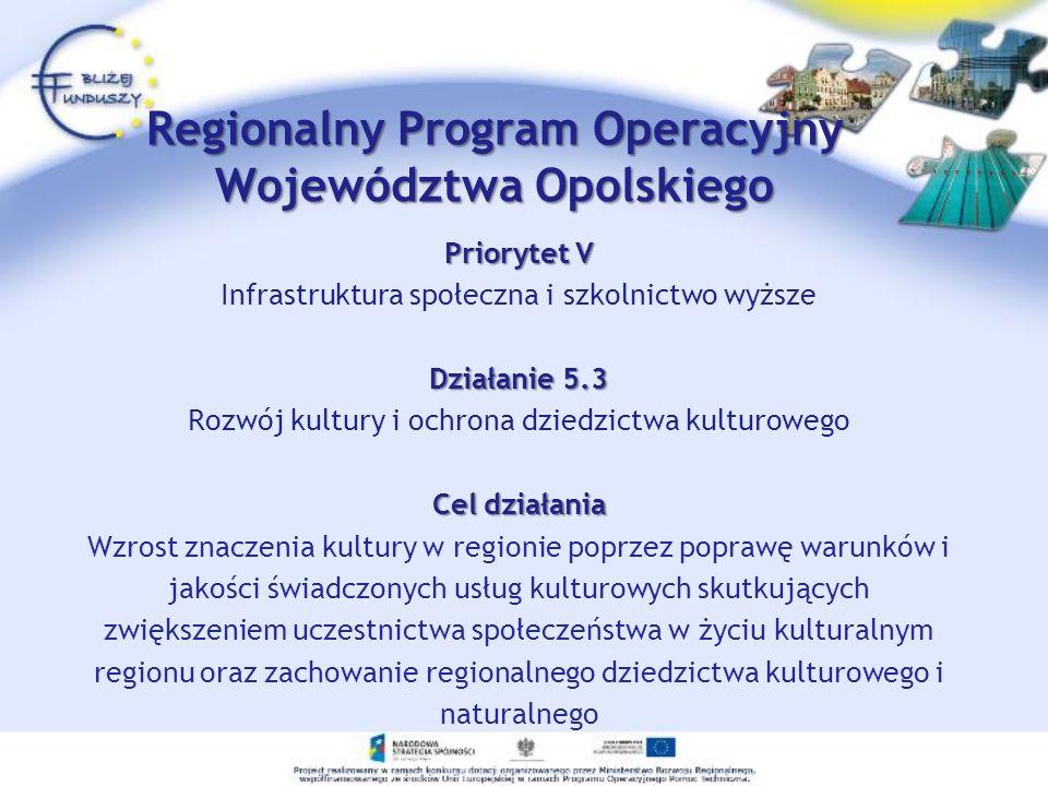 Priorytet V Infrastruktura społeczna i szkolnictwo wyższe Działanie 5.3 Rozwój kultury i ochrona dziedzictwa kulturowego Cel działania Wzrost znaczeni