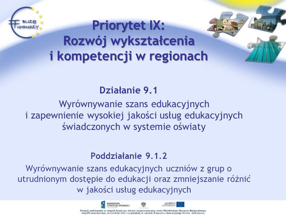 Priorytet IX: Rozwój wykształcenia i kompetencji w regionach Działanie 9.1 Wyrównywanie szans edukacyjnych i zapewnienie wysokiej jakości usług edukac