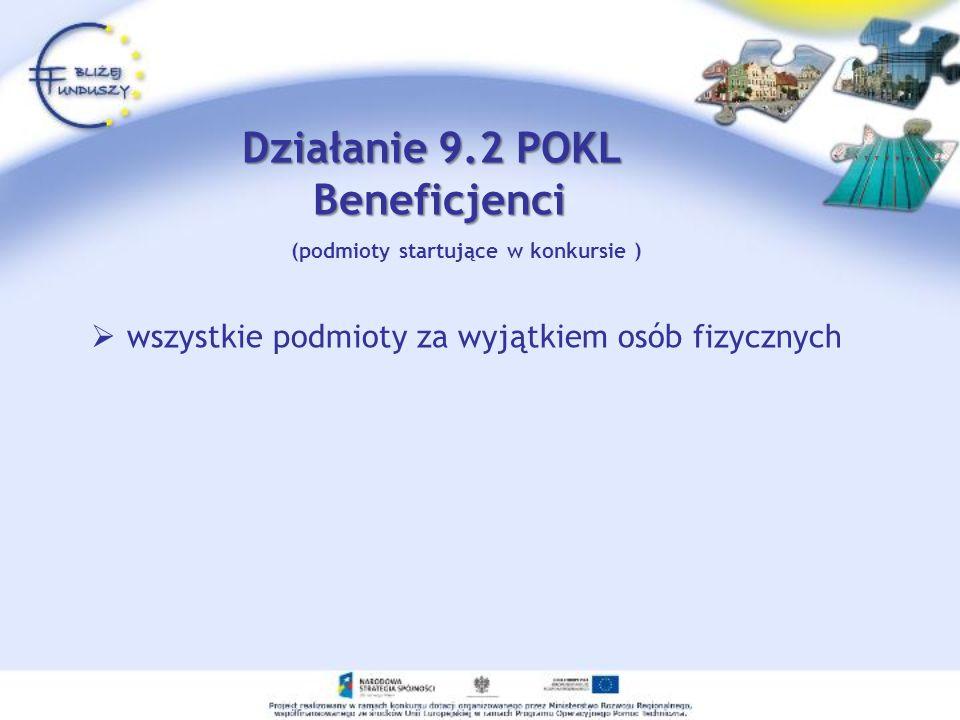 (podmioty startujące w konkursie ) wszystkie podmioty za wyjątkiem osób fizycznych Działanie 9.2 POKL Beneficjenci