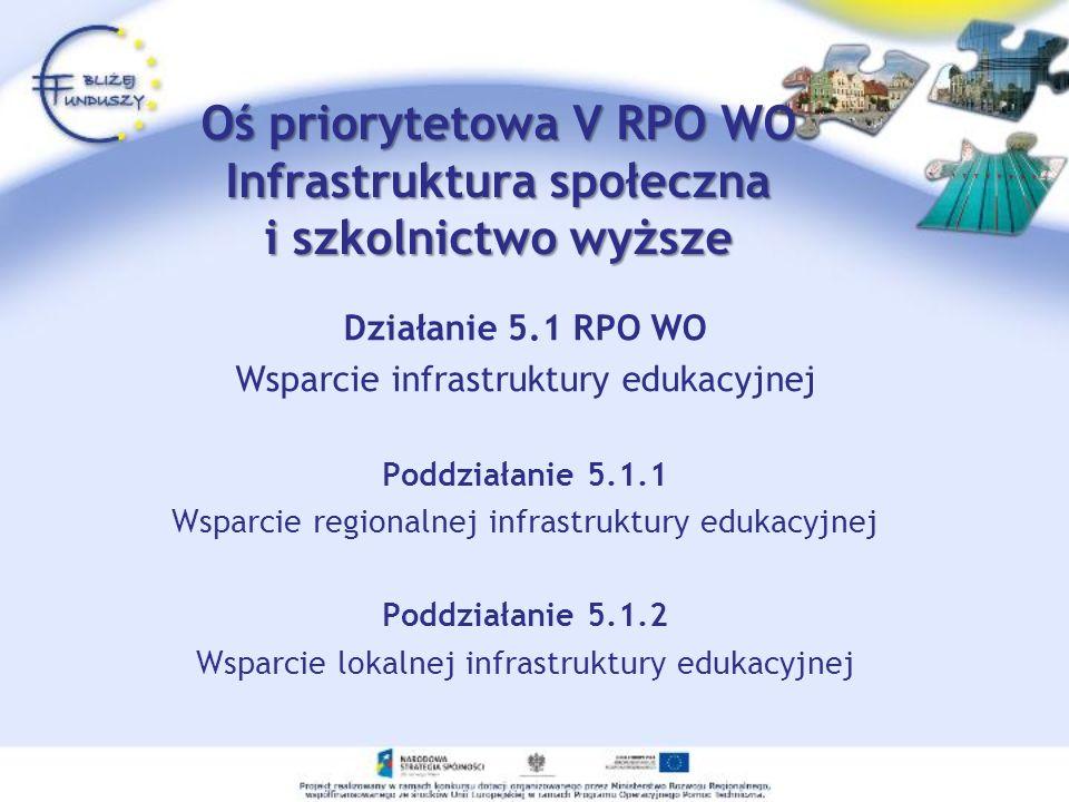 Oś priorytetowa V RPO WO Infrastruktura społeczna i szkolnictwo wyższe Działanie 5.1 RPO WO Wsparcie infrastruktury edukacyjnej Poddziałanie 5.1.1 Wsp