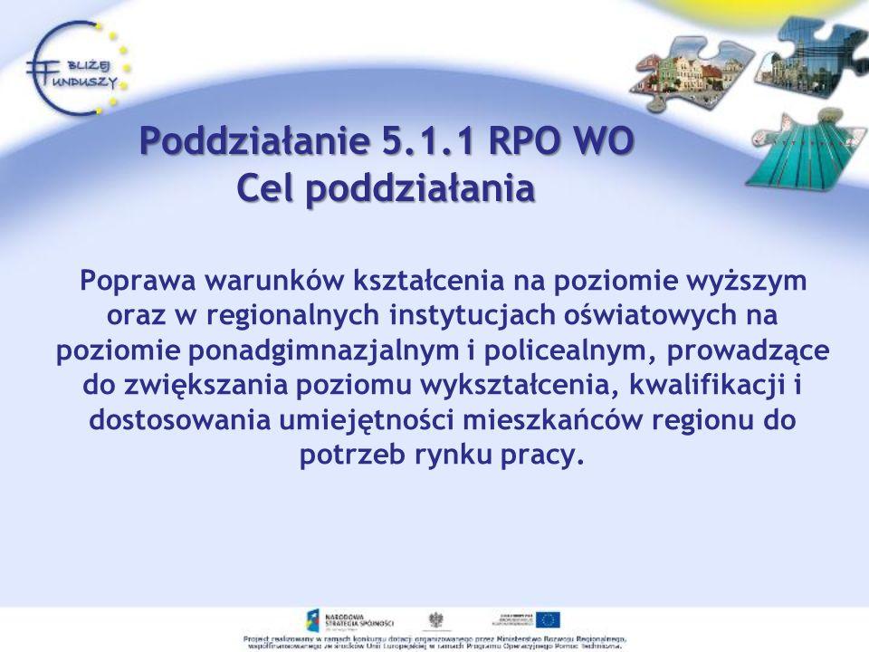 Poddziałanie 5.1.1 RPO WO Cel poddziałania Poprawa warunków kształcenia na poziomie wyższym oraz w regionalnych instytucjach oświatowych na poziomie p