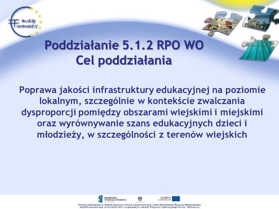 Poddziałanie 5.1.2 RPO WO Cel poddziałania Poprawa jakości infrastruktury edukacyjnej na poziomie lokalnym, szczególnie w kontekście zwalczania dyspro