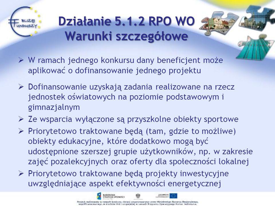 Działanie 5.1.2 RPO WO Warunki szczegółowe W ramach jednego konkursu dany beneficjent może aplikować o dofinansowanie jednego projektu Dofinansowanie
