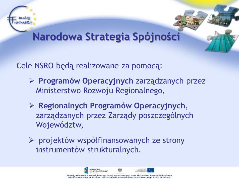 Narodowa Strategia Spójności Cele NSRO będą realizowane za pomocą: Programów Operacyjnych zarządzanych przez Ministerstwo Rozwoju Regionalnego, Region