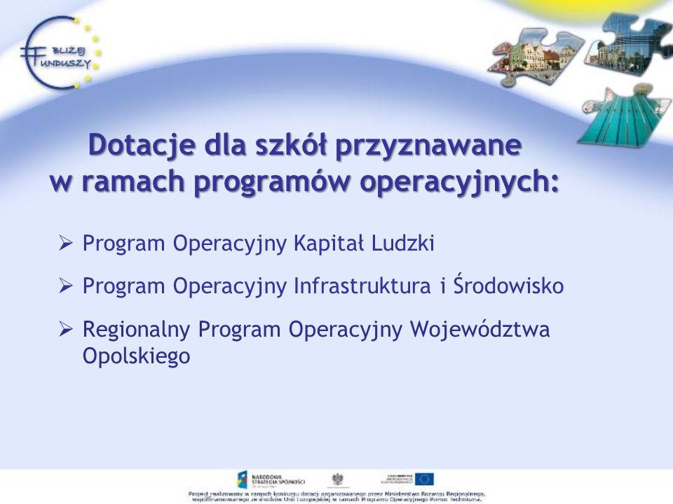 Dotacje dla szkół przyznawane w ramach programów operacyjnych: Program Operacyjny Kapitał Ludzki Program Operacyjny Infrastruktura i Środowisko Region
