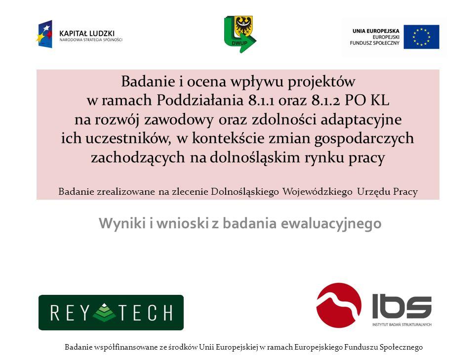 Badanie i ocena wpływu projektów w ramach Poddziałania 8.1.1 oraz 8.1.2 PO KL na rozwój zawodowy oraz zdolności adaptacyjne ich uczestników, w kontekś