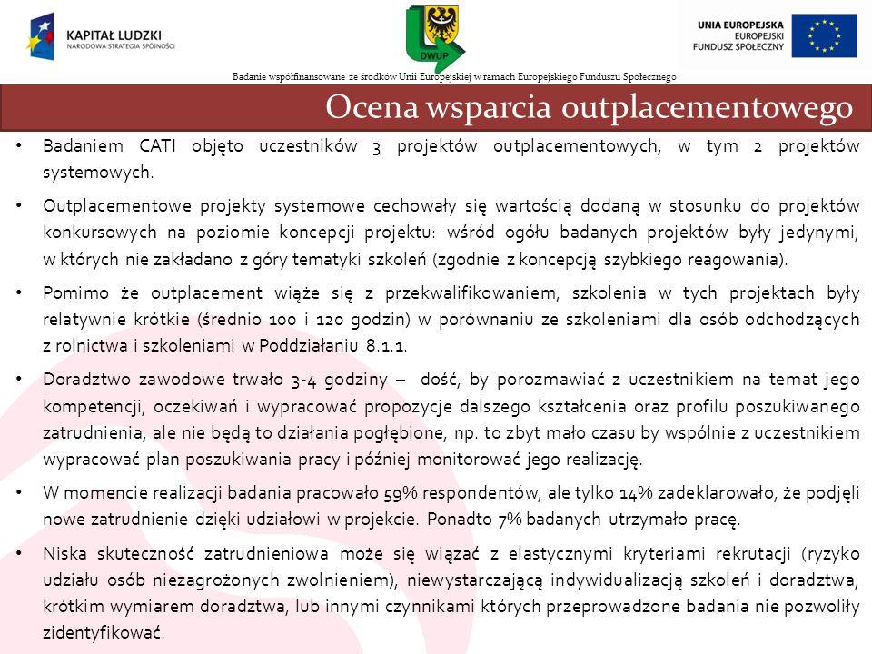 Ocena wsparcia outplacementowego Badaniem CATI objęto uczestników 3 projektów outplacementowych, w tym 2 projektów systemowych. Outplacementowe projek