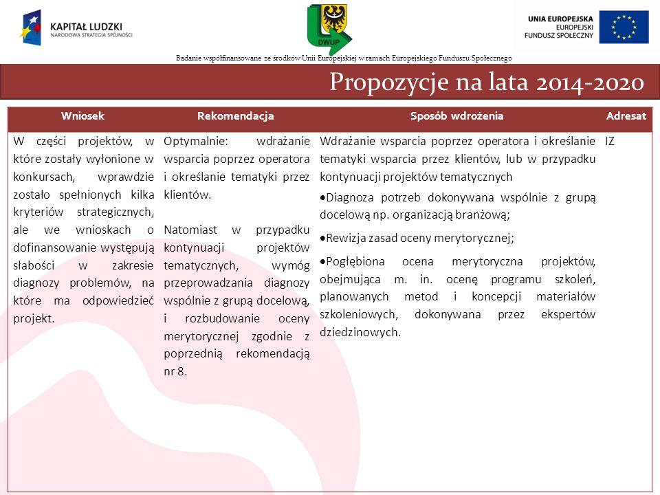 WniosekRekomendacjaSposób wdrożeniaAdresat W części projektów, w które zostały wyłonione w konkursach, wprawdzie zostało spełnionych kilka kryteriów s