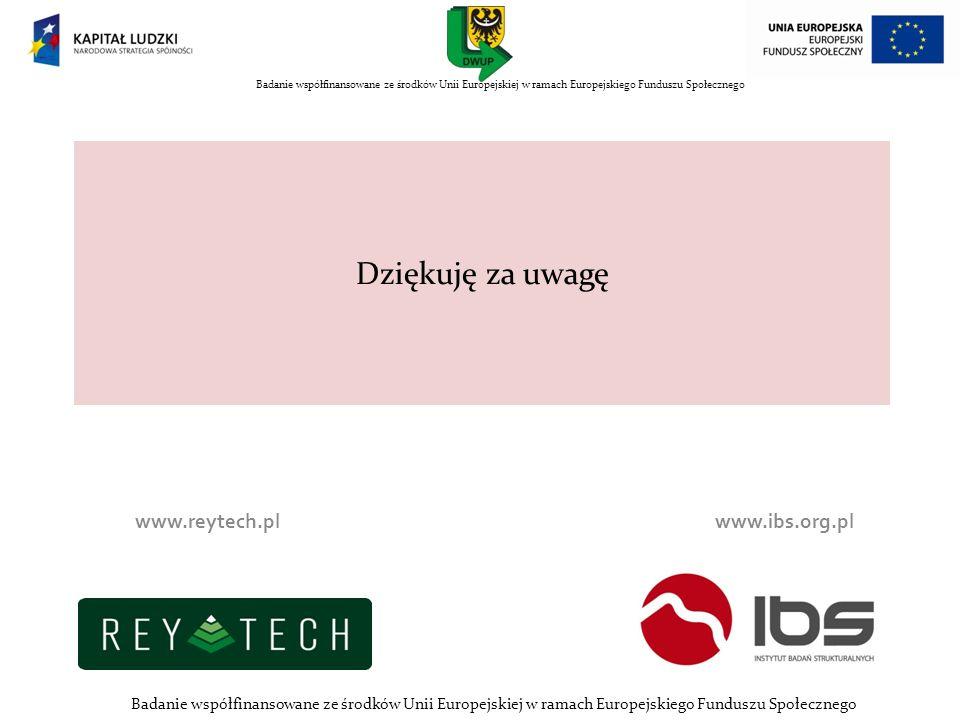 Dziękuję za uwagę www.reytech.pl www.ibs.org.pl Badanie współfinansowane ze środków Unii Europejskiej w ramach Europejskiego Funduszu Społecznego nnn