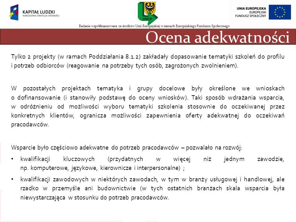 Ocena adekwatności Tylko 2 projekty (w ramach Poddziałania 8.1.2) zakładały dopasowanie tematyki szkoleń do profilu i potrzeb odbiorców (reagowanie na