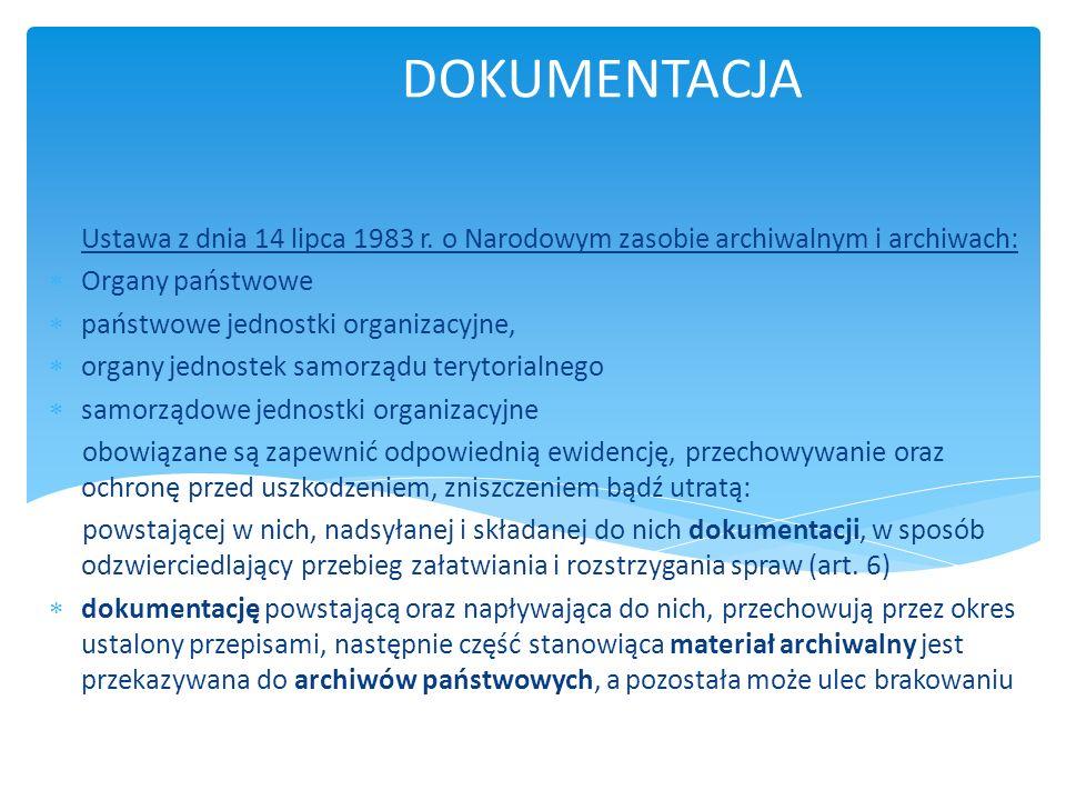 MATERIAŁY ARCHIWALNE wchodzące do narodowego zasobu archiwalnego wszelkiego rodzaju akta i dokumenty, korespondencja, dokumentacja finansowa, techniczna i statystyczna, mapy i plany, fotografie, filmy i mikrofilmy, nagrania dźwiękowe i wideofonowe, dokumenty elektroniczne w rozumieniu przepisów ustawy z dnia 17 lutego 2005 r.