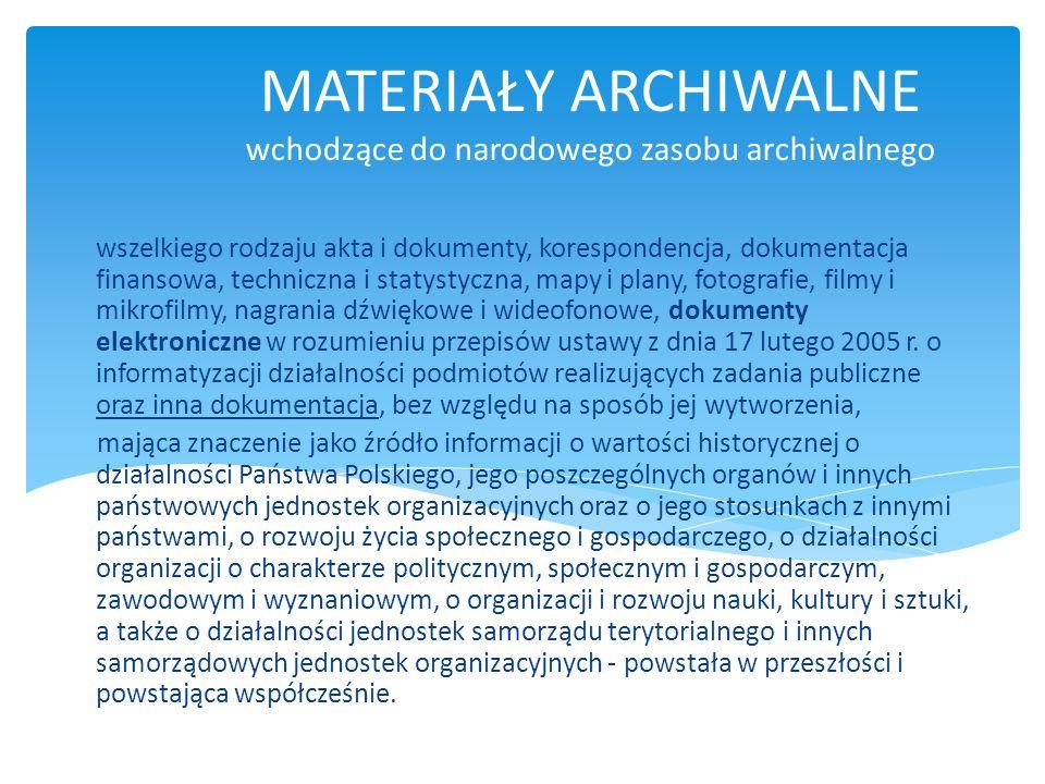 MATERIAŁY ARCHIWALNE wchodzące do narodowego zasobu archiwalnego wszelkiego rodzaju akta i dokumenty, korespondencja, dokumentacja finansowa, technicz