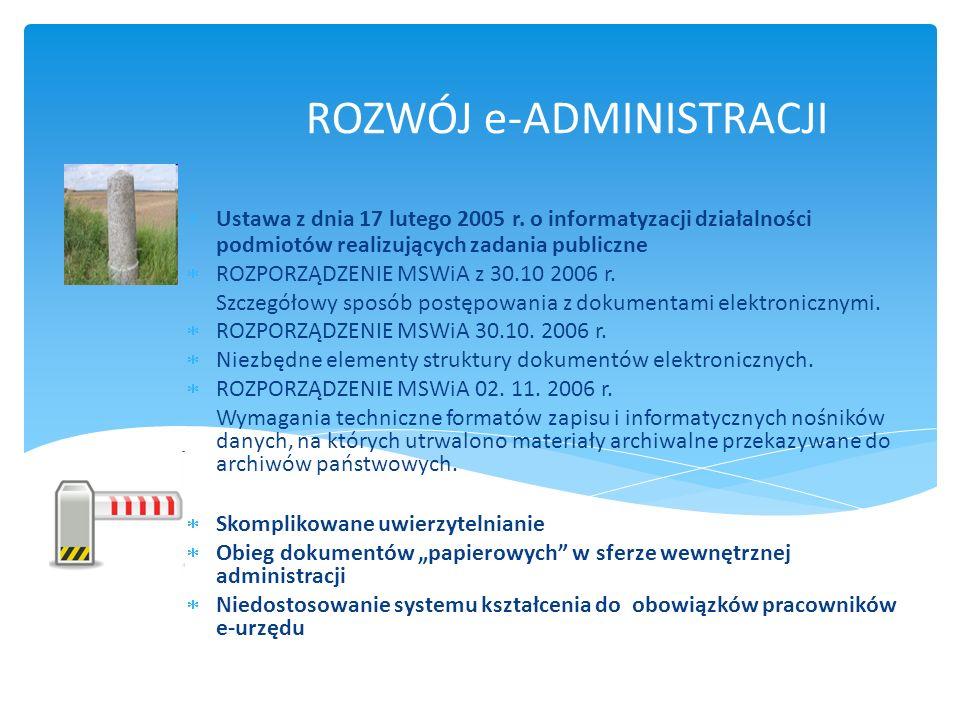 ROZWÓJ e-ADMINISTRACJI Ustawa z dnia 17 lutego 2005 r. o informatyzacji działalności podmiotów realizujących zadania publiczne ROZPORZĄDZENIE MSWiA z