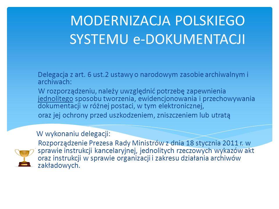 MODERNIZACJA POLSKIEGO SYSTEMU e-DOKUMENTACJI Delegacja z art. 6 ust.2 ustawy o narodowym zasobie archiwalnym i archiwach: W rozporządzeniu, należy uw