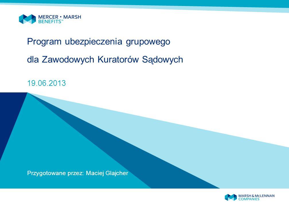 Program ubezpieczenia grupowego dla Zawodowych Kuratorów Sądowych 19.06.2013 Przygotowane przez: Maciej Glajcher