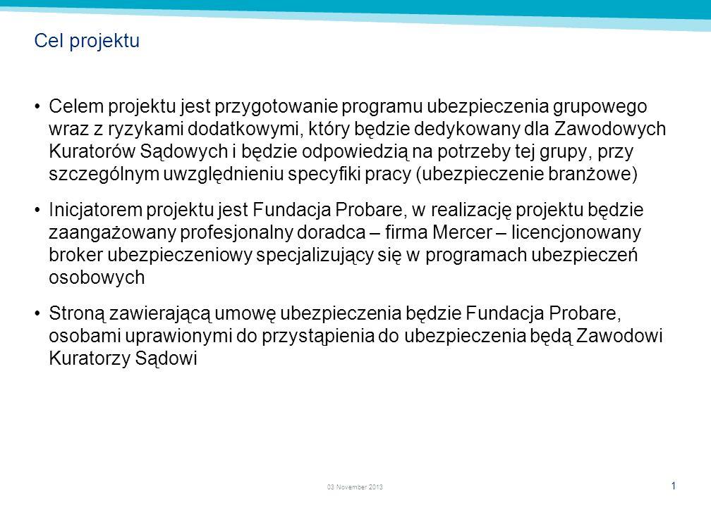 1 03 November 2013 Cel projektu Celem projektu jest przygotowanie programu ubezpieczenia grupowego wraz z ryzykami dodatkowymi, który będzie dedykowany dla Zawodowych Kuratorów Sądowych i będzie odpowiedzią na potrzeby tej grupy, przy szczególnym uwzględnieniu specyfiki pracy (ubezpieczenie branżowe) Inicjatorem projektu jest Fundacja Probare, w realizację projektu będzie zaangażowany profesjonalny doradca – firma Mercer – licencjonowany broker ubezpieczeniowy specjalizujący się w programach ubezpieczeń osobowych Stroną zawierającą umowę ubezpieczenia będzie Fundacja Probare, osobami uprawionymi do przystąpienia do ubezpieczenia będą Zawodowi Kuratorzy Sądowi