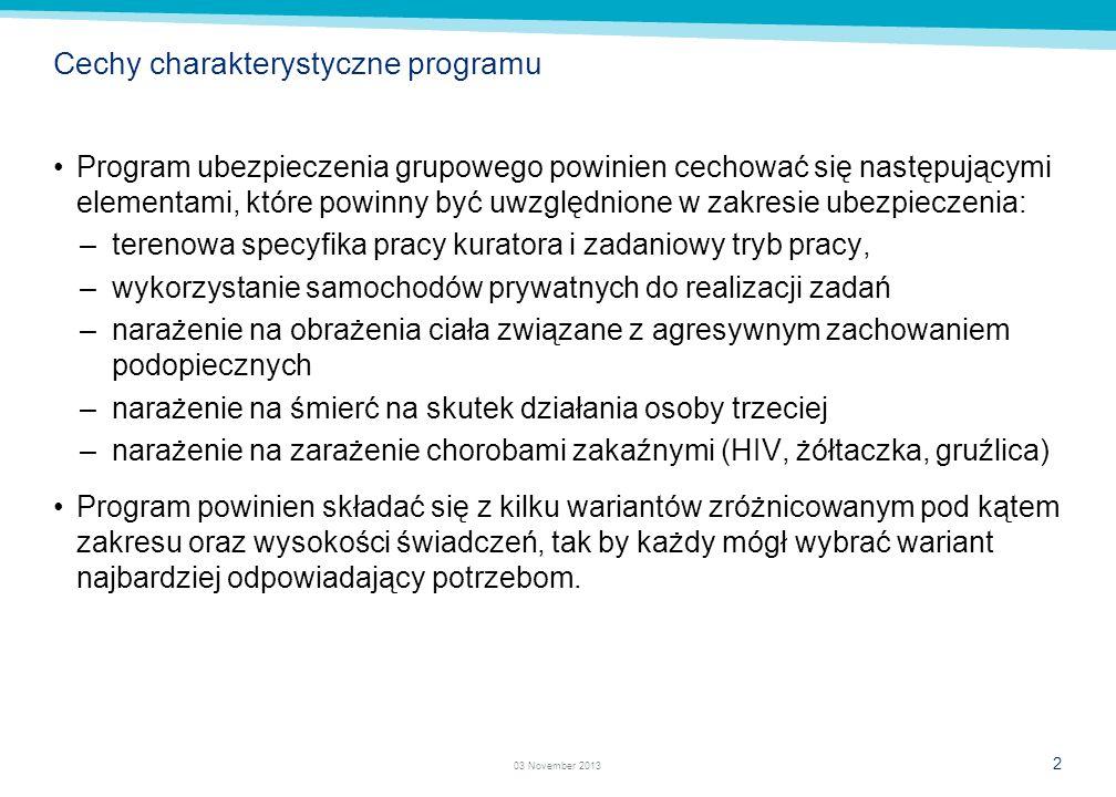 1 03 November 2013 Cel projektu Celem projektu jest przygotowanie programu ubezpieczenia grupowego wraz z ryzykami dodatkowymi, który będzie dedykowan