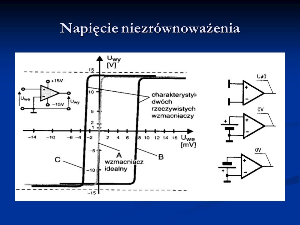 Parametry statyczne wzmacniaczy operacyjnych Wzmocnienie napięciowe (bez sprzężeń zwrotnych) Wzmocnienie napięciowe (bez sprzężeń zwrotnych) Wejściowe