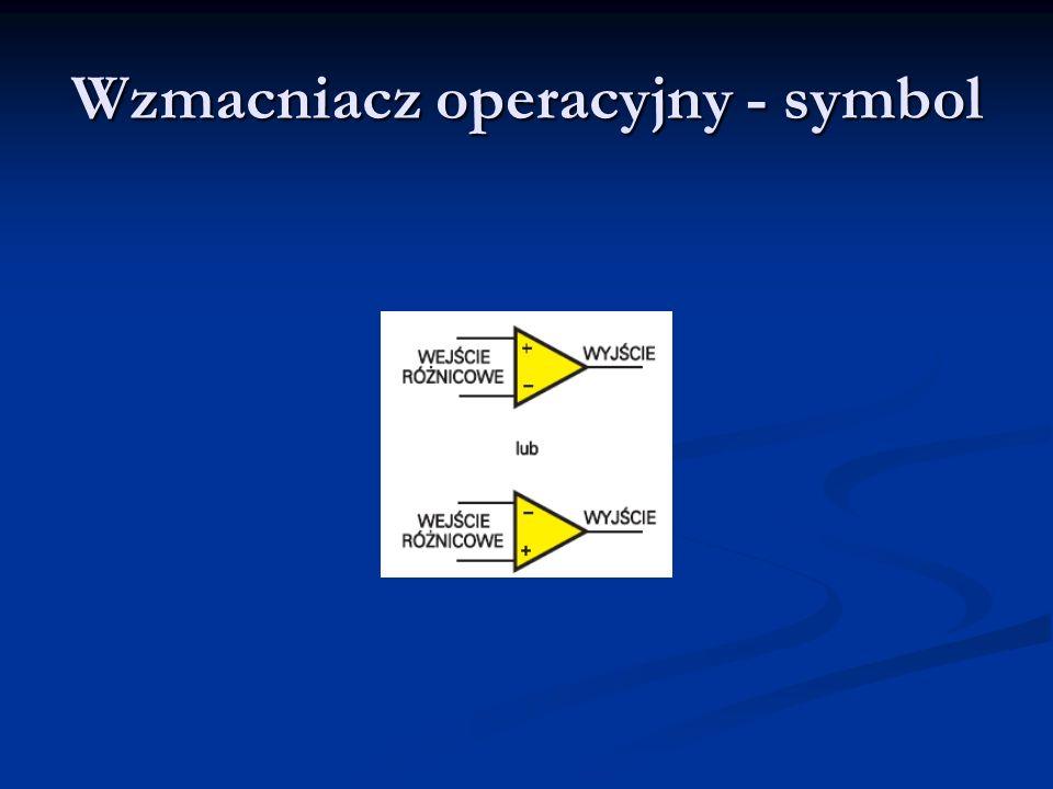 Parametry statyczne wzmacniaczy operacyjnych Wzmocnienie napięciowe (bez sprzężeń zwrotnych) Wzmocnienie napięciowe (bez sprzężeń zwrotnych) Wejściowe napięcie niezrównoważenia (input offset voltage) Wejściowe napięcie niezrównoważenia (input offset voltage) Prądy polaryzacji wejść (input bias currents) Prądy polaryzacji wejść (input bias currents) Wejściowy prąd niezrównoważenia (input offset current) Wejściowy prąd niezrównoważenia (input offset current) Współczynniki zmian termicznych w/w parametrów Współczynniki zmian termicznych w/w parametrów Współczynnik tłumienia sygnału wspólnego CMMR (common mode rejection ratio) Współczynnik tłumienia sygnału wspólnego CMMR (common mode rejection ratio) Współczynnik tłumienia zmian napięcia zasilania SVRR (supply voltage rejection ratio) Współczynnik tłumienia zmian napięcia zasilania SVRR (supply voltage rejection ratio)
