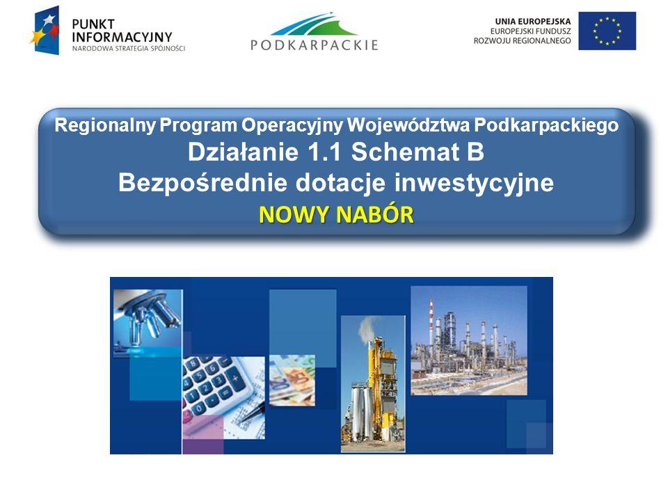 Regionalny Program Operacyjny Województwa Podkarpackiego Działanie 1.1 Schemat B NOWY NABÓR Bezpośrednie dotacje inwestycyjne NOWY NABÓR