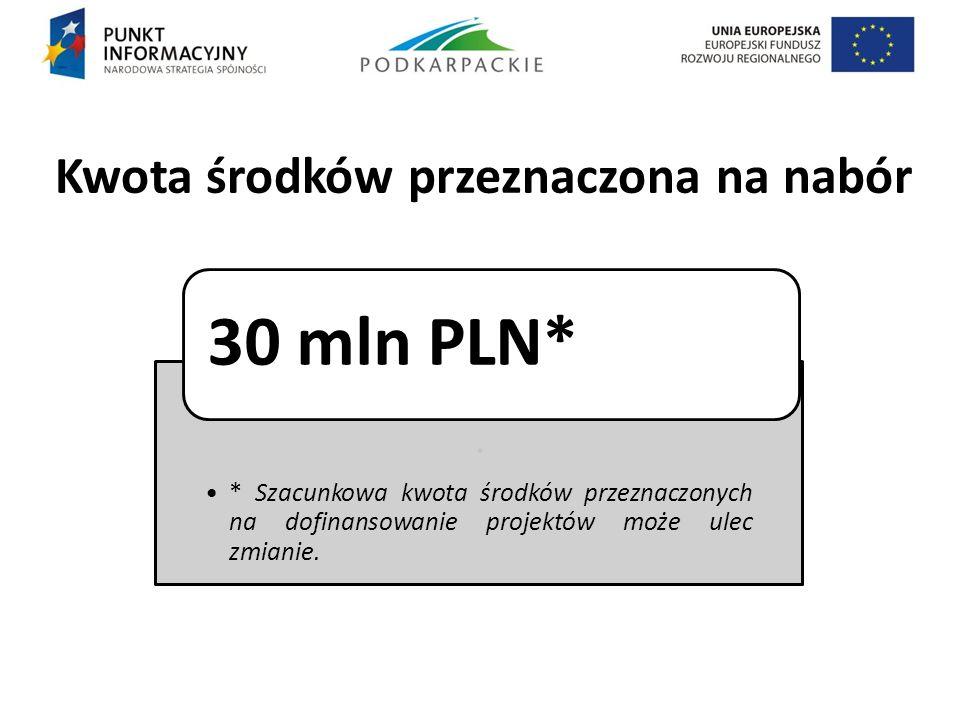 Kwota środków przeznaczona na nabór. * Szacunkowa kwota środków przeznaczonych na dofinansowanie projektów może ulec zmianie. 30 mln PLN*