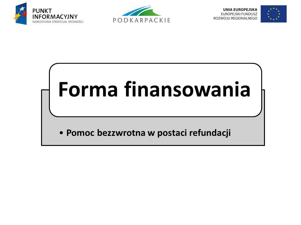 . Pomoc bezzwrotna w postaci refundacji Forma finansowania