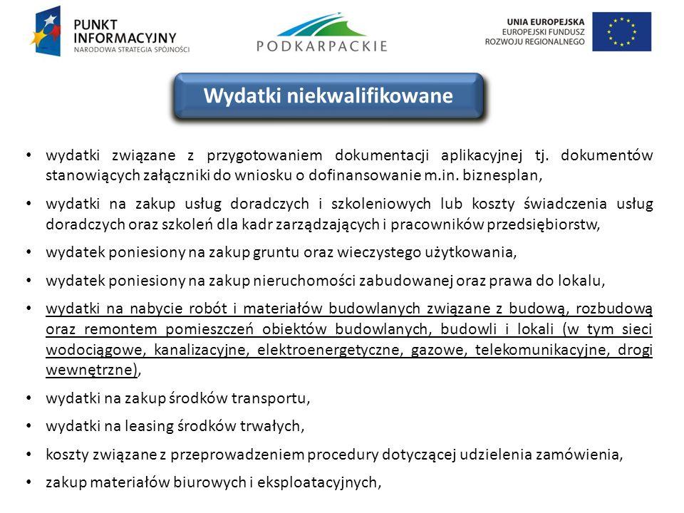 wydatki związane z przygotowaniem dokumentacji aplikacyjnej tj. dokumentów stanowiących załączniki do wniosku o dofinansowanie m.in. biznesplan, wydat