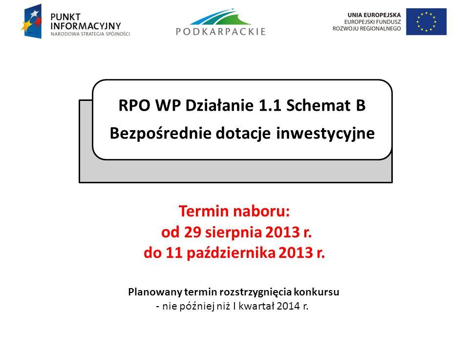 Termin naboru: od 29 sierpnia 2013 r. do 11 października 2013 r. RPO WP Działanie 1.1 Schemat B Bezpośrednie dotacje inwestycyjne Planowany termin roz