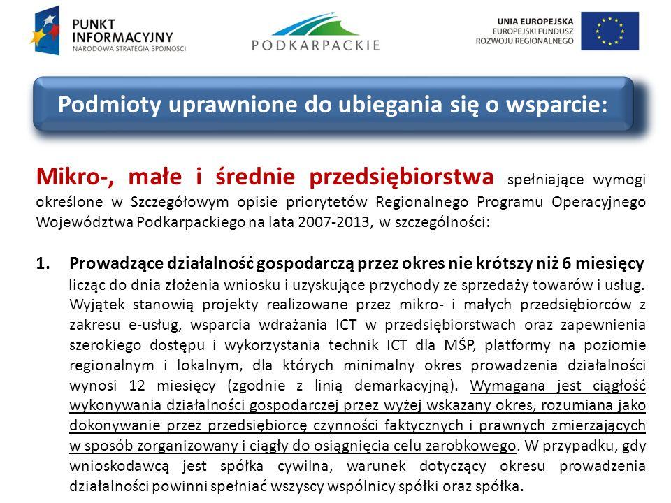 Podmioty uprawnione do ubiegania się o wsparcie: 2.Realizujące inwestycje na terenie województwa podkarpackiego.