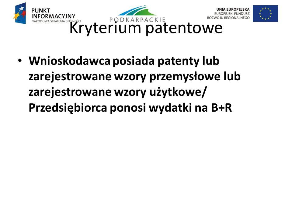 Kryterium patentowe Wnioskodawca posiada patenty lub zarejestrowane wzory przemysłowe lub zarejestrowane wzory użytkowe/ Przedsiębiorca ponosi wydatki