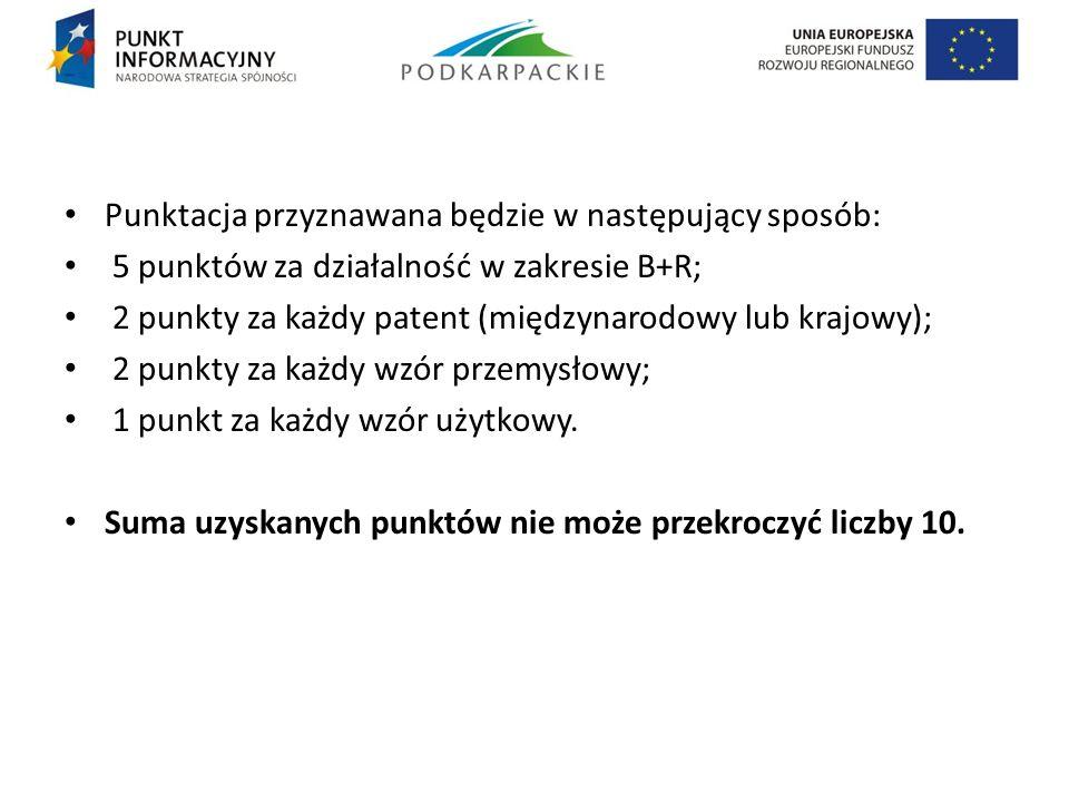 Punktacja przyznawana będzie w następujący sposób: 5 punktów za działalność w zakresie B+R; 2 punkty za każdy patent (międzynarodowy lub krajowy); 2 p