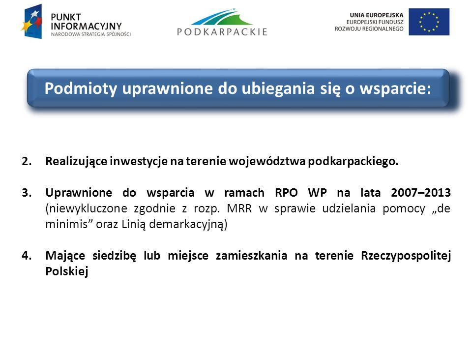 Podmioty uprawnione do ubiegania się o wsparcie: 2.Realizujące inwestycje na terenie województwa podkarpackiego. 3.Uprawnione do wsparcia w ramach RPO