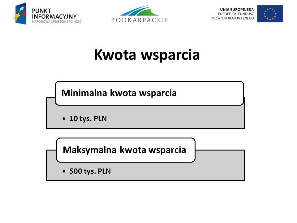 Kwota wsparcia. 10 tys. PLN Minimalna kwota wsparcia 500 tys. PLN Maksymalna kwota wsparcia