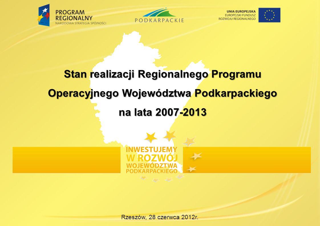 Rzeszów, 28 czerwca 2012r. Stan realizacji Regionalnego Programu Operacyjnego Województwa Podkarpackiego na lata 2007-2013