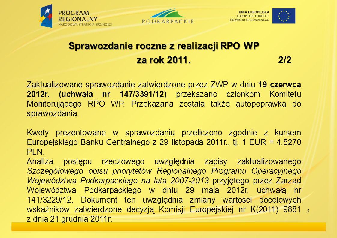 3 Sprawozdanie roczne z realizacji RPO WP za rok 2011. za rok 2011. 2/2 Zaktualizowane sprawozdanie zatwierdzone przez ZWP w dniu 19 czerwca 2012r. (u