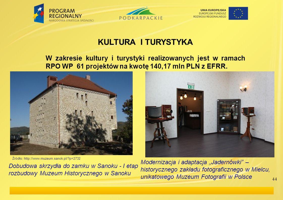 44 KULTURA I TURYSTYKA W zakresie kultury i turystyki realizowanych jest w ramach RPO WP 61 projektów na kwotę 140,17 mln PLN z EFRR. Modernizacja i a