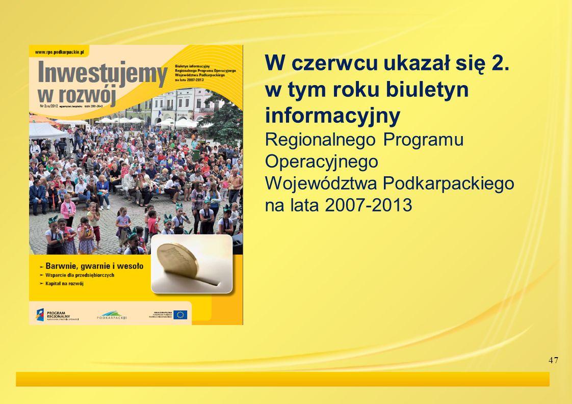 47 W czerwcu ukazał się 2. w tym roku biuletyn informacyjny Regionalnego Programu Operacyjnego Województwa Podkarpackiego na lata 2007-2013