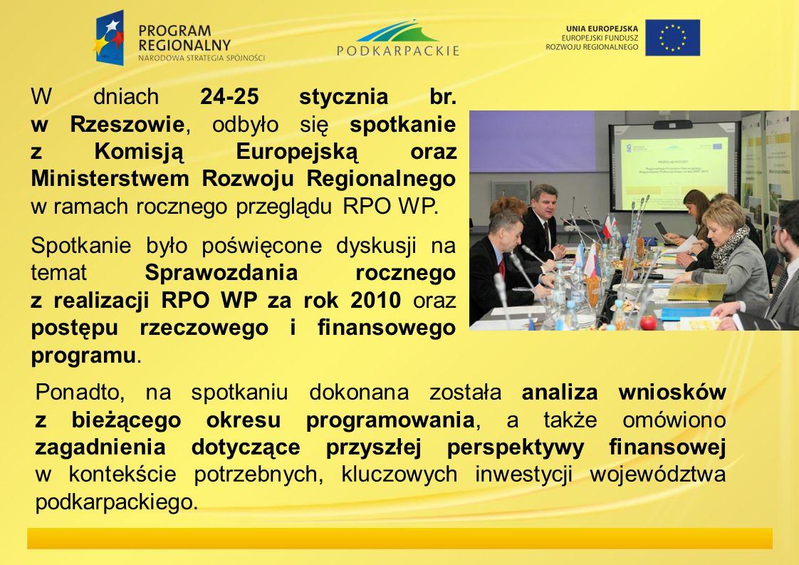 W dniach 24-25 stycznia br. w Rzeszowie, odbyło się spotkanie z Komisją Europejską oraz Ministerstwem Rozwoju Regionalnego w ramach rocznego przeglądu