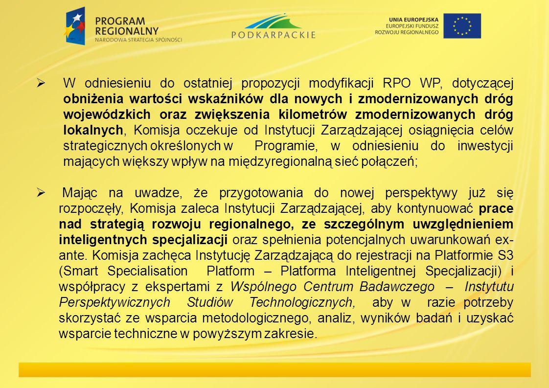W odniesieniu do ostatniej propozycji modyfikacji RPO WP, dotyczącej obniżenia wartości wskaźników dla nowych i zmodernizowanych dróg wojewódzkich ora