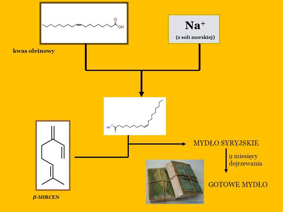 Na + (z soli morskiej) MYDŁO SYRYJSKIE 9 miesięcy dojrzewania GOTOWE MYDŁO kwas oleinowy β-MIRCEN